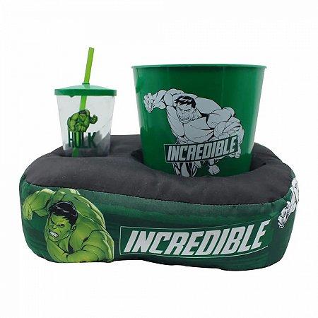 Kit almofada pipoca fibra individual Hulk Marvel