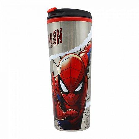 Copo Viagem Homem Aranha Marvel com tampa 450ml