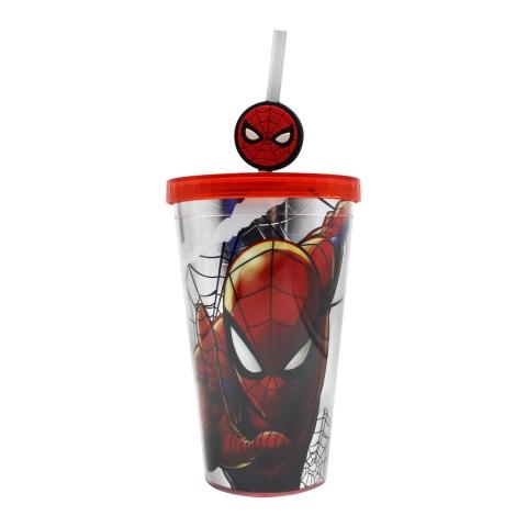 Copo canudo c/ pingente Homem Aranha Marvel 500ML