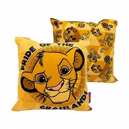 Almofada Rei Leão Simba 25x25cm Fibra Veludo