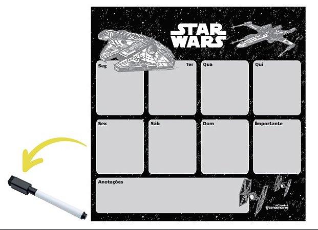 Quadro metal com caneta Star Wars Naves 29X29CM