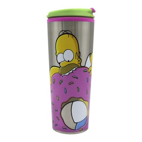 Copo Viagem Simpsons Homer Donuts com tampa 450ml