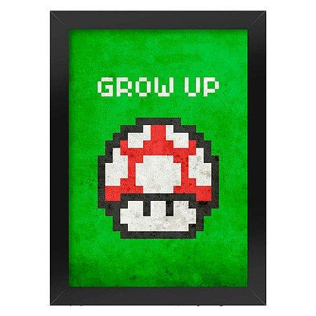 Poster com Moldura Cogumelo Pixel Grow Up