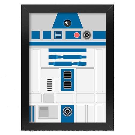 Poster com Moldura Geek Side Faces - R2D2