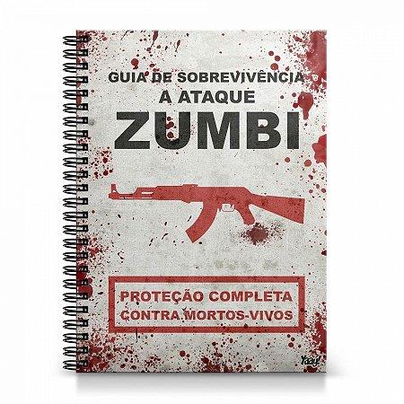 Caderno Universitário Capa Dura Guia ataque Zumbis
