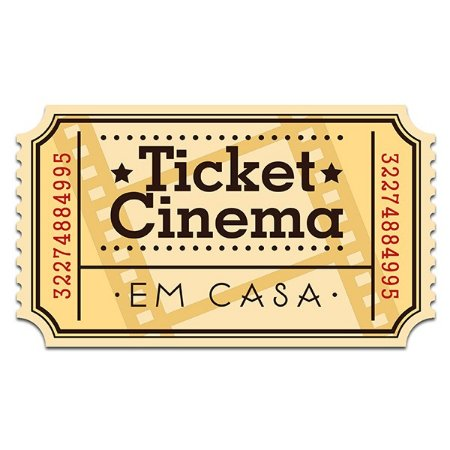 Placa de parede Ticket Cinema - 32 x 18 cm