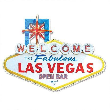Placa Open Bar Vegas - 18,5 x 25 cm