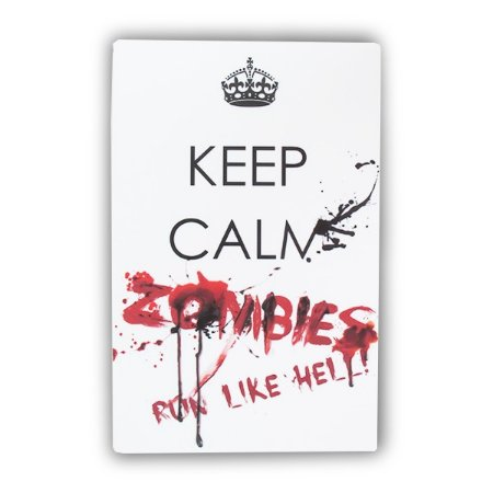 Placa Keep Calm Zombie Run - 16,2 x 25 cm