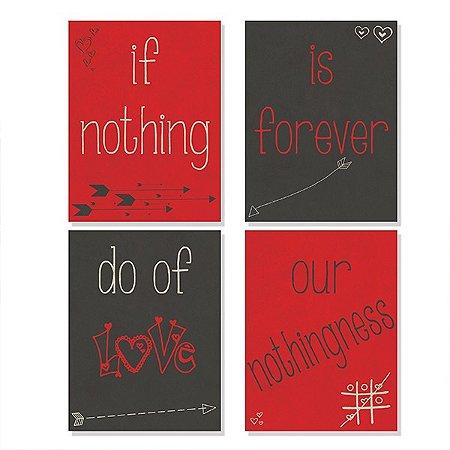 Kit 4 Quadros MDF Do of Love