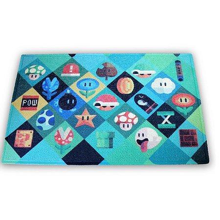 Capacho Mario Bros objetos - 60 x 40