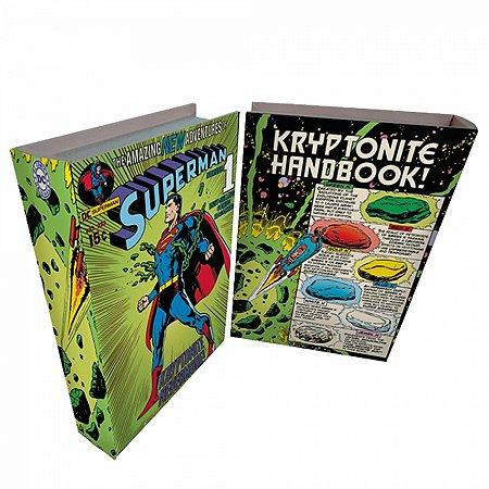 Caixa livro madeira DC Superman colorido 25 X 17 X 4cm