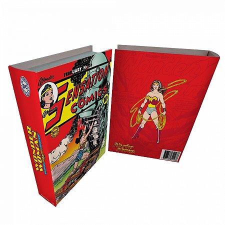 Caixa livro madeira DC Wonder Woman colorido 25 X 17 X 4 CM