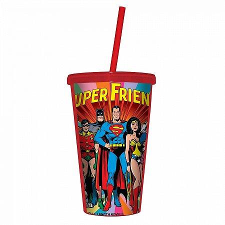 Copo plastico com tampa e canudo DC super friends colorido