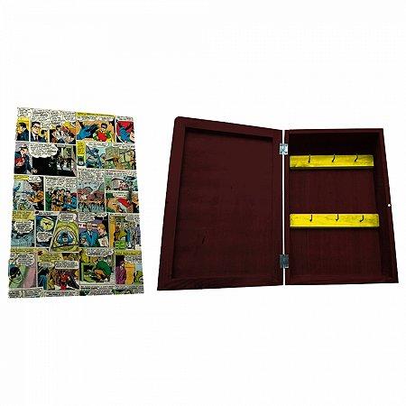 Porta chave cporta madeira DC Comics colorido 21 X 31 cm