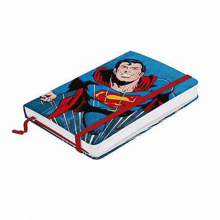 Caderneta de anotação Papel DC Superman flyng fd azul A6