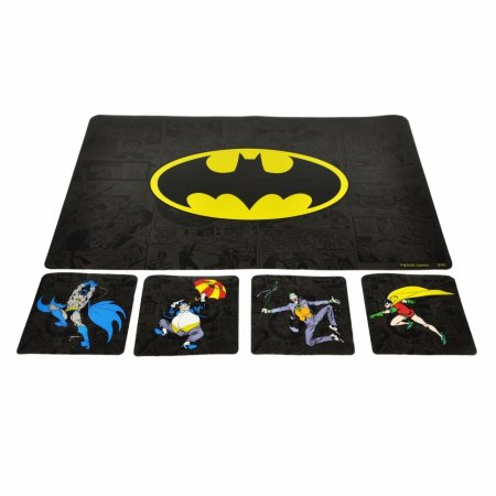Set 4 coaster 4 placemat pvc dc batman enemies preto