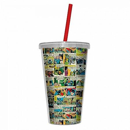 Copo plástico com tampa e canudo dc comics colorido