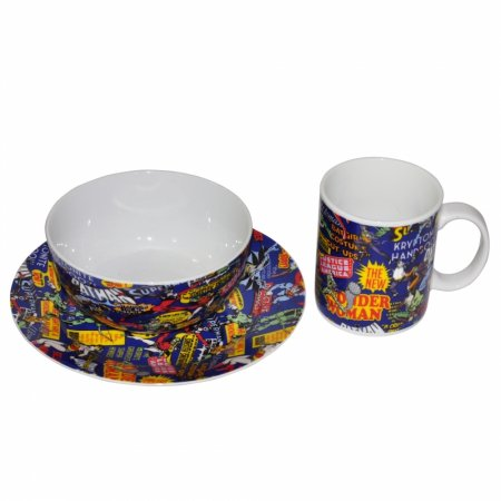 Set 3 Pcs Porcelana Breakfast Dc Comics Super Heroes Fd Azul
