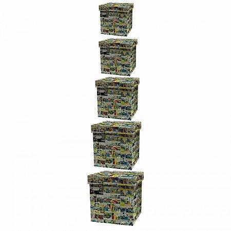 Set caixa organizadora 5 pcs madeira dc quadrinhos colorido