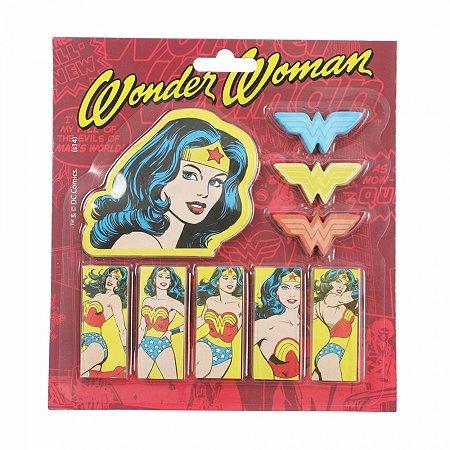 Set bloco de notas com adesivo dco wonder woman fd vermelho