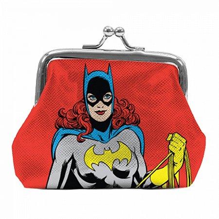 Porta moedas pvc dc bat girl vermelho 9 x 8 x 1,5 cm