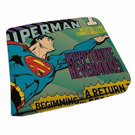 Carteira pu dco flying superman azul 9 x 12 cm