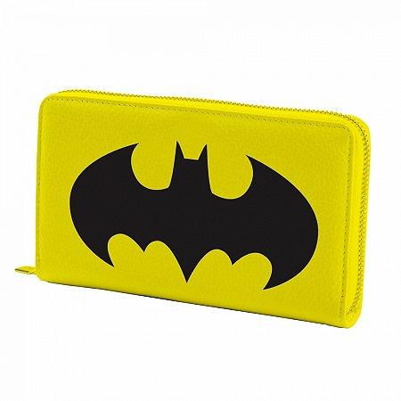 Carteira pu com ziper dco batman logo preto fd amarelo