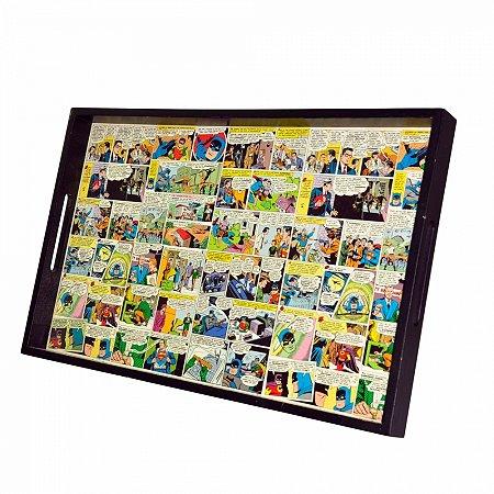 Bandeja madeira quadrinhos dco colorido 45 x 29 x 3,5 cm