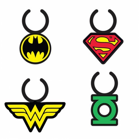 Set c4 marcador de taca silicone dco super heroes logo