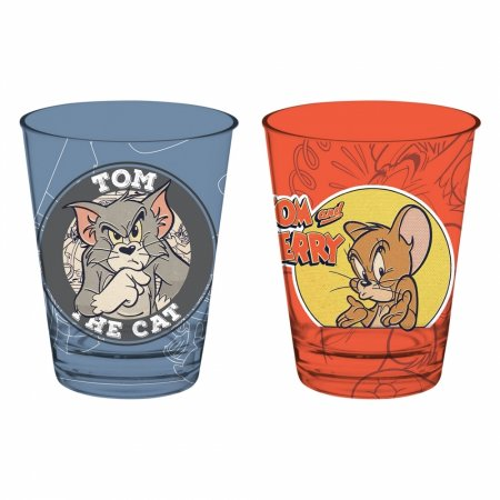 Set 2 Pcs Copo Vidro Caldereta Tom and Jerry 300ml