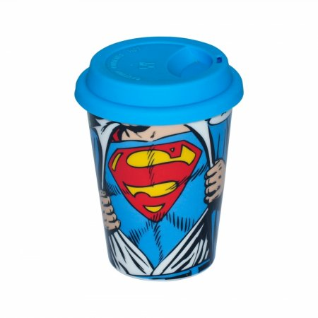 Copo Ceramica Dc Com Tampa Silicone Superman Opening Shirt