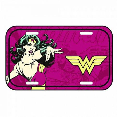 Placa Parede Metal Dc Wonder Woman Power Fd Vermelho