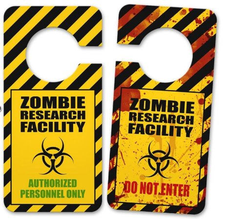 Aviso de Porta Zombie Research Facility