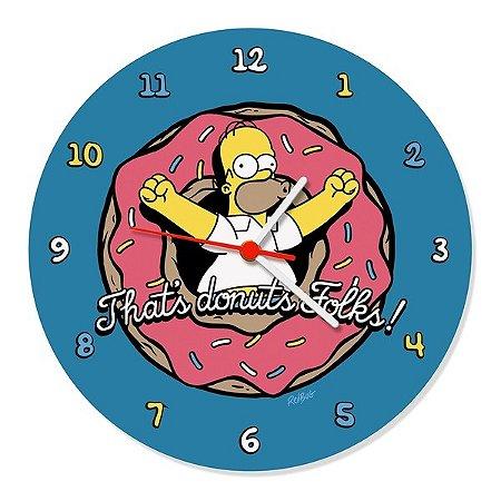Relógio de Parede Simpsons Homer Donuts