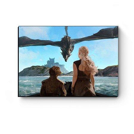 Quadro decorativo GOT Daenerys, Tyrion e Drogon