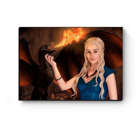 Quadro decorativo GOT Daenerys e Drogon desenho