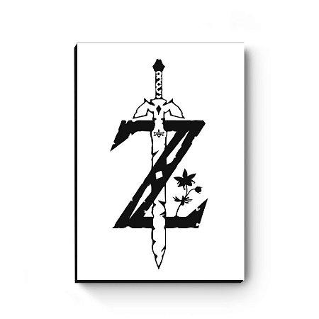 Quadro decorativo MDF Legend Of Zelda logo preto