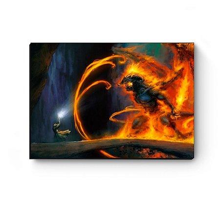 Quadro decorativo MDF Senhor dos anéis Gandalf vs Balrog