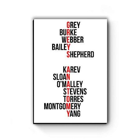 Quadro decorativo MDF Greys Anatomy Nomes