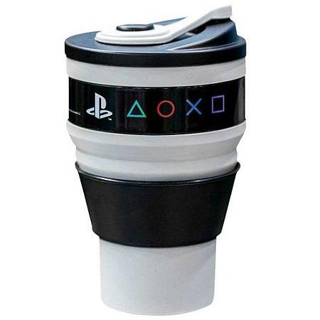 Copo retrátil 400ml cinza Playstation