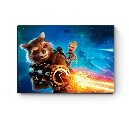 Quadro decorativo MDF Guardiões da Galaxia Groot e Rocket II