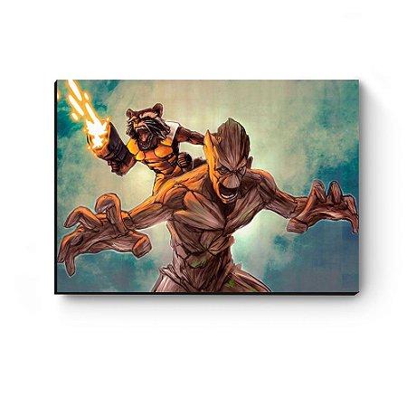 Quadro decorativo MDF Guardiões da Galaxia Groot e Rocket