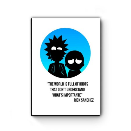 Quadro decorativo MDF Rick and Morty Lua Azul