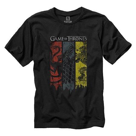 Camiseta Game Of Thrones Got Brasões 3 Casas
