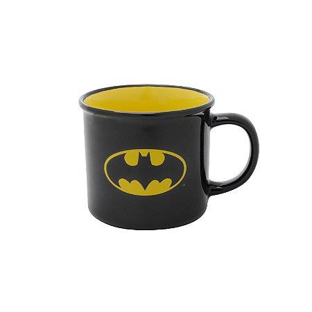Caneca Porcelana Batman Logo Preto Amarelo