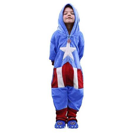 Macacão Kigurumi Infantil Capitão América de 3 a 4 anos