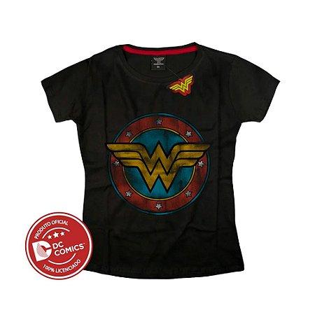 Camiseta Feminina Mulher Maravilha Logo Preta