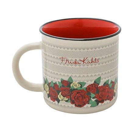 Caneca porcelana Frida Kahlo flores - 220ml