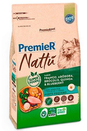 Ração Premier Nattu para Cães Adultos de Pequeno Porte Sabor Frango, Abóbora, Brócolis, Quinoa e Blueberry - 2,5kg