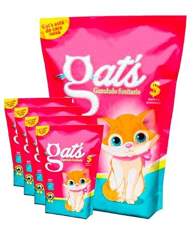 5 Pacotes de 4kg - Granulado Sanitário Gats para Gatos